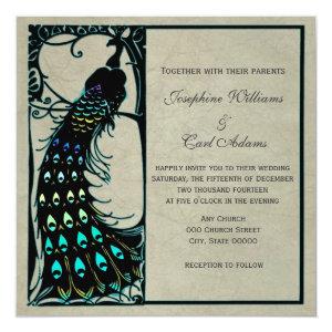 Vintage Peacock Art Nouveau Wedding Invites 5.25