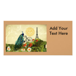 Vintage Peacock Art with Eiffel Tower Picture Card