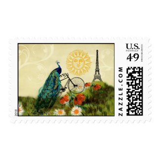 Vintage Peacock Art with Eiffel Tower Postage Stamp