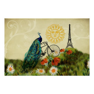 Vintage Peacock Art with Eiffel Tower Poster