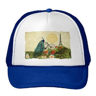 Vintage Peacock Art with Eiffel Tower Trucker Hat