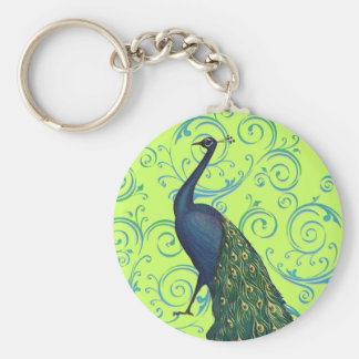 Vintage Peacock Basic Round Button Keychain