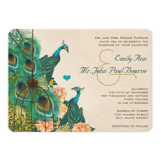 Vintage Peacock Bird Cage Feather Wedidng Invite