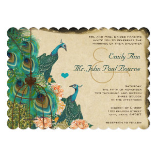 "Vintage Peacock Bird Cage Feather Wedidng Invite 5"" X 7"" Invitation Card"