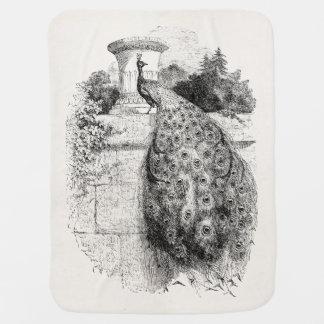Vintage Peacock Bird Personalized Peafowl Birds Swaddle Blanket