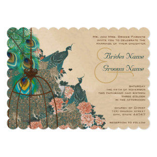 Vintage Peacock Birdcage Feather Wedidng Invitate Card