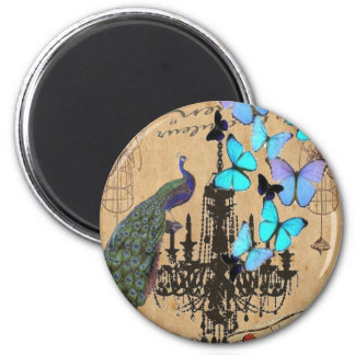 vintage peacock butterfly Paris fashion 2 Inch Round Magnet
