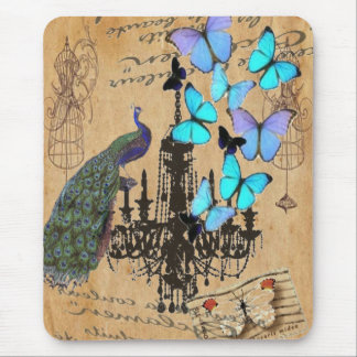 vintage peacock butterfly Paris fashion Mouse Pad