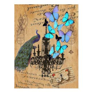 vintage peacock butterfly Paris fashion Postcard