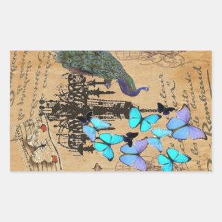 vintage peacock butterfly Paris fashion Rectangular Sticker
