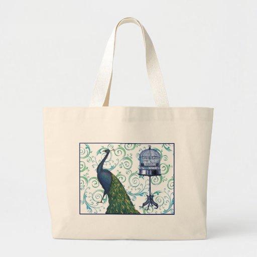 Vintage Peacock & Cage Canvas Bags
