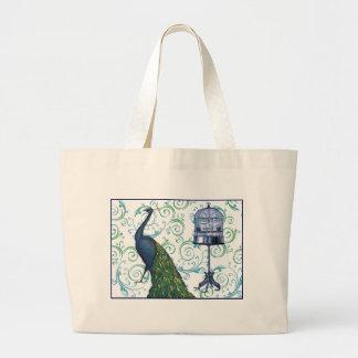Vintage Peacock & Cage Jumbo Tote Bag