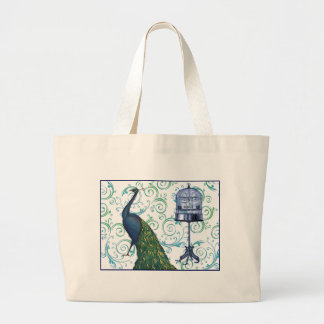 Vintage Peacock & Cage Large Tote Bag