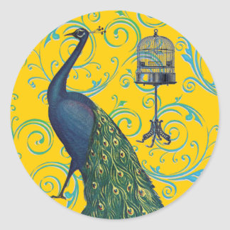 Vintage Peacock & Cage Round Stickers