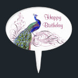 "Vintage Peacock Cake Topper<br><div class=""desc"">Beautiful vintage peacock on swirls ornate.</div>"
