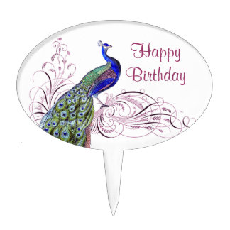 Vintage Peacock Cake Topper