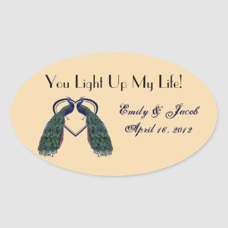 Vintage Peacock Candle Jar Favor Tags Oval Stickers