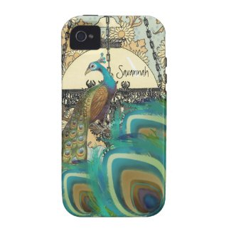 Vintage Peacock Chandeliers and Feathers Vibe Iphone 4 Cover