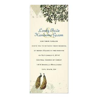 "Vintage Peacock Chevron Wedding Invitation 4"" X 9.25"" Invitation Card"