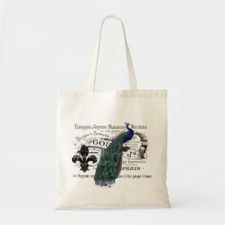 Vintage Peacock Collage Budget Tote Bag