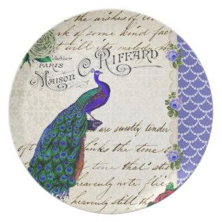 Vintage Peacock Collage Melamine Plate