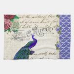 Vintage Peacock Collage Towel