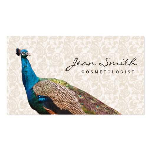 Vintage Peacock Cosmetologist Floral Business Card
