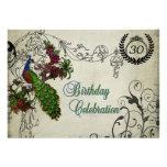Vintage Peacock Customized Birthday Invitation