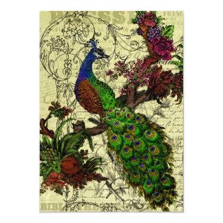 "Vintage Peacock Customized Menu Card 5"" X 7"" Invitation Card"