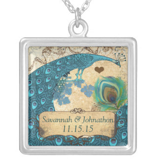 Vintage Peacock Damask Anniversary Necklace