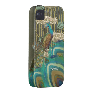 Vintage Peacock Dragonflies and Lilypads Vibe iPhone 4 Cases