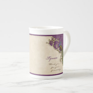 Vintage Peacock & Etching Family Bridal Party Gift Tea Cup