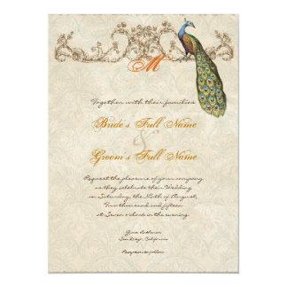 Vintage Peacock & Etchings Burnt Orange Wedding Custom Announcements