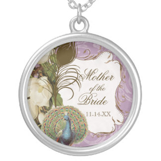 Vintage Peacock & Etchings Mother of the Bride Round Pendant Necklace