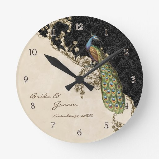 Personalised Clock Wedding Gift India : Vintage Peacock & Etchings Personalized Wedding Round Clock Zazzle