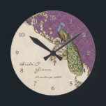 """Vintage Peacock &amp; Etchings Personalized Wedding Round Clock<br><div class=""""desc"""">Designed to match the wedding invitation suite of the same name, this elegant and sophisticated personalized wedding or anniversary clock is a wonderful modern but vintage design. It&#39;s perfect for a bridal shower or wedding gift! Mixing Vintage art elements and contemporary watercolor art work hand painted by Audrey Jeanne Roberts...</div>"""