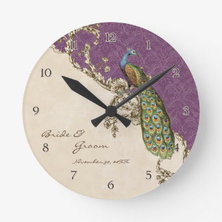 Vintage Peacock & Etchings Personalized Wedding Round Clock