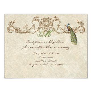 "Vintage Peacock & Etchings Reception Invitation 4.25"" X 5.5"" Invitation Card"