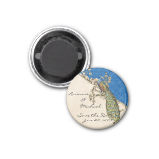 Vintage Peacock & Etchings Save the Date 1 Inch Round Magnet