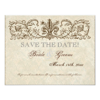Vintage Peacock & Etchings, Save the Date Card
