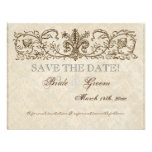 Vintage Peacock & Etchings, Save the Date Card Custom Invite