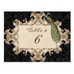 Vintage Peacock & Etchings, Table Number Card