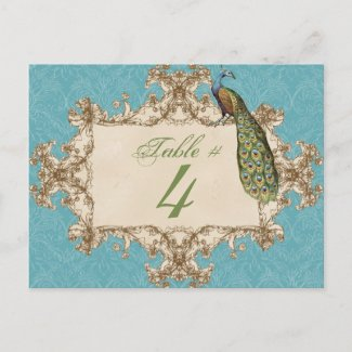 Vintage Peacock & Etchings, Table Number Card Post Card