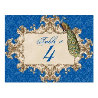 Vintage Peacock & Etchings, Table Number Card Postcard