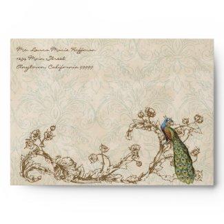 Vintage Peacock & Etchings, Wedding Envelopes envelope