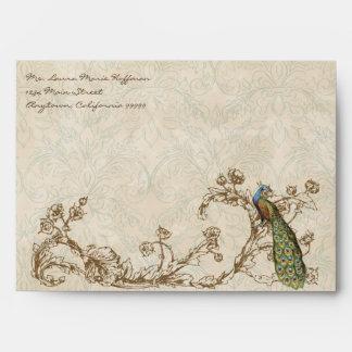 Vintage Peacock & Etchings, Wedding Envelopes