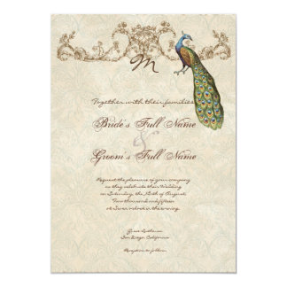 "Vintage Peacock & Etchings Wedding Invitation 5"" X 7"" Invitation Card"
