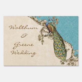 Vintage Peacock & Etchings Wedding Invitation Aqua Yard Signs
