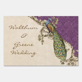 Vintage Peacock & Etchings Wedding Invitation Blue Sign