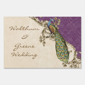 Vintage Peacock & Etchings Wedding Invitation Blue Lawn Sign